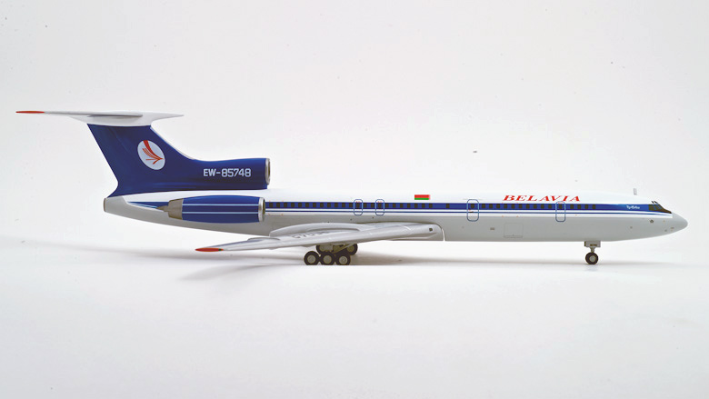 Belavia Tu-154M airplane scale model.
